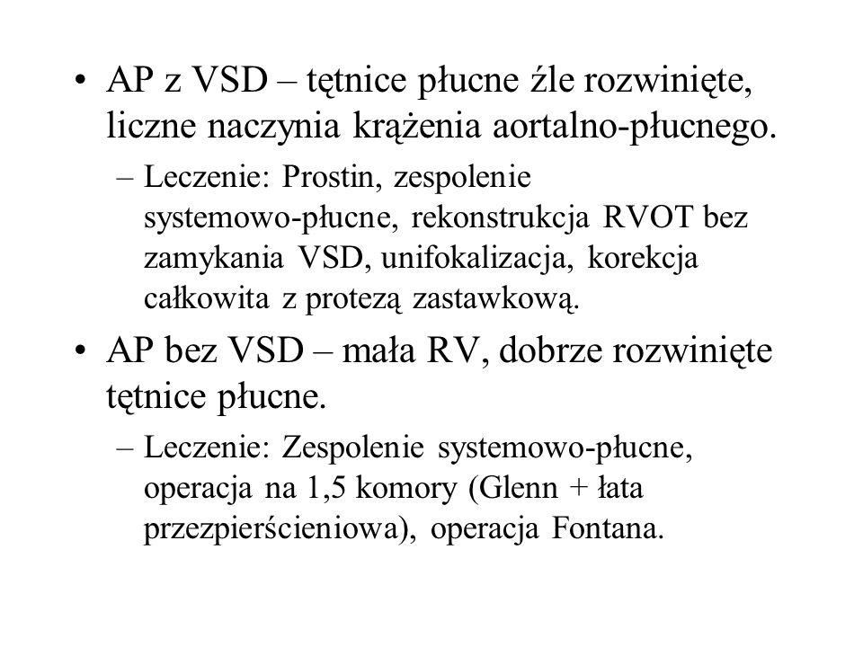 AP z VSD – tętnice płucne źle rozwinięte, liczne naczynia krążenia aortalno-płucnego. –Leczenie: Prostin, zespolenie systemowo-płucne, rekonstrukcja R