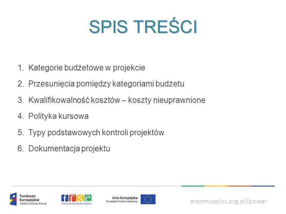 power.frse.org.pl/ksztalcenie-zawodowe KATEGORIE BUDŻETOWE W PROJEKCIE dzielimy na: erasmusplus.org.pl/power