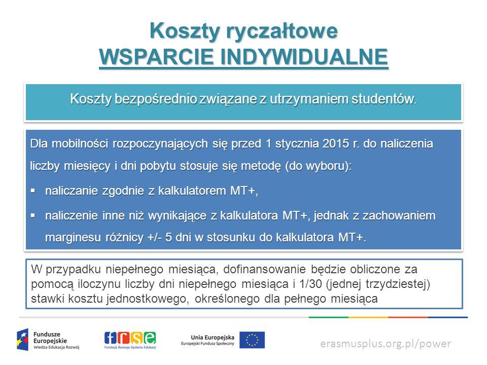 power.frse.org.pl/ksztalcenie-zawodowe Koszty ryczałtowe WSPARCIE INDYWIDUALNE erasmusplus.org.pl/power