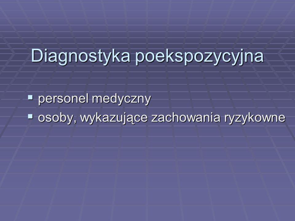 Diagnostyka poekspozycyjna  personel medyczny  osoby, wykazujące zachowania ryzykowne