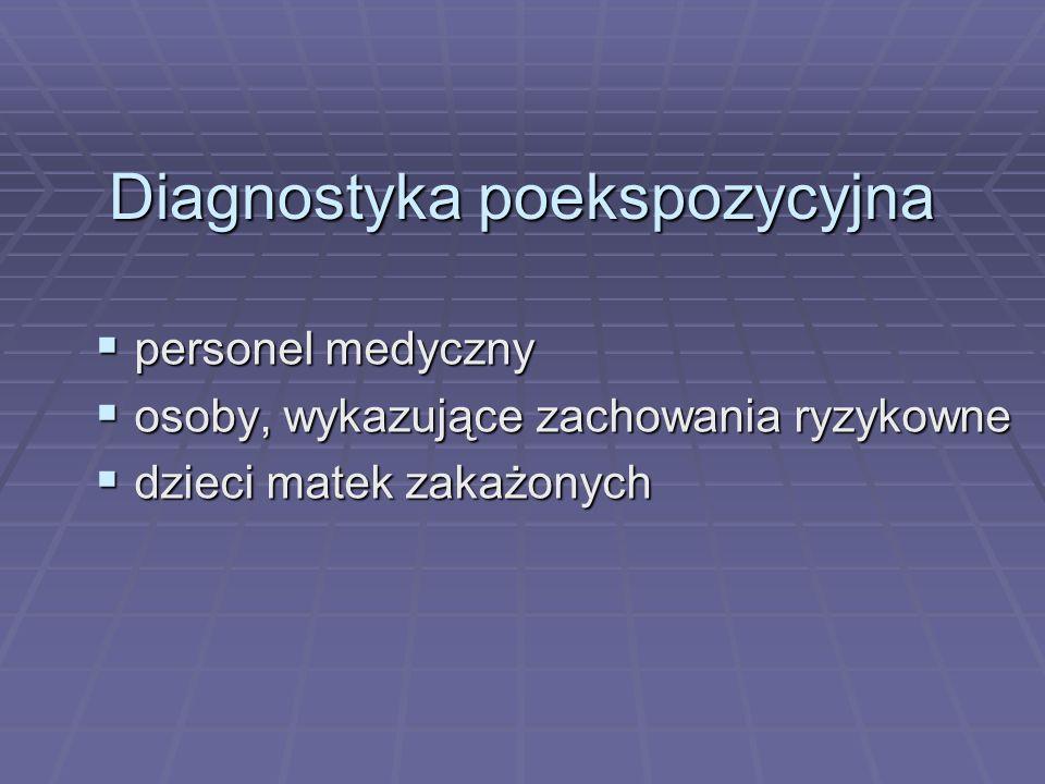 Diagnostyka poekspozycyjna  personel medyczny  osoby, wykazujące zachowania ryzykowne  dzieci matek zakażonych