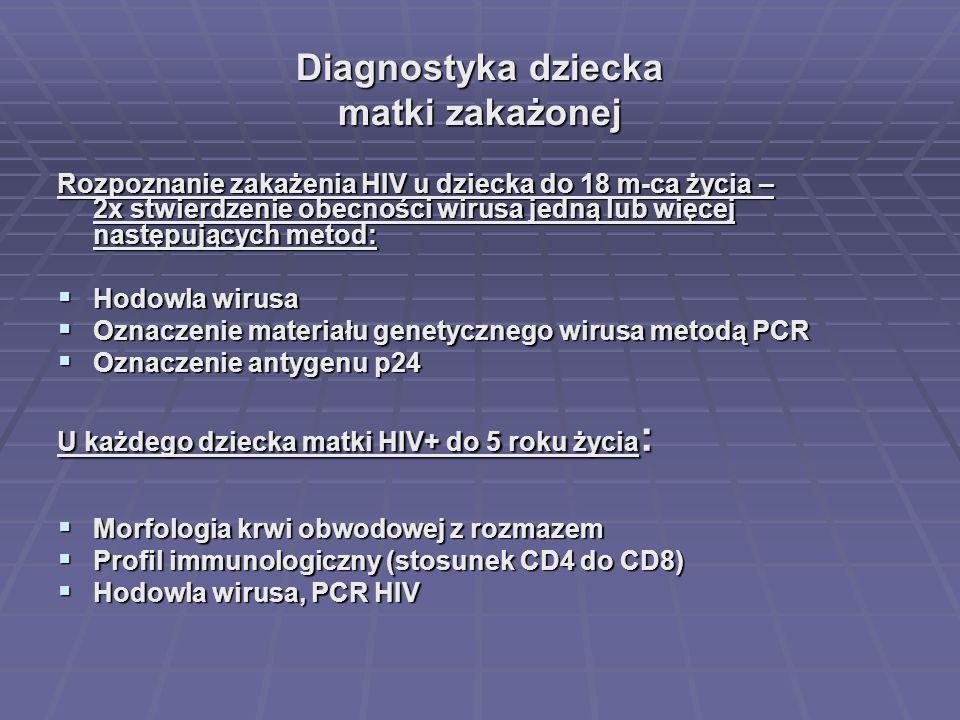 Diagnostyka dziecka matki zakażonej Rozpoznanie zakażenia HIV u dziecka do 18 m-ca życia – 2x stwierdzenie obecności wirusa jedną lub więcej następują