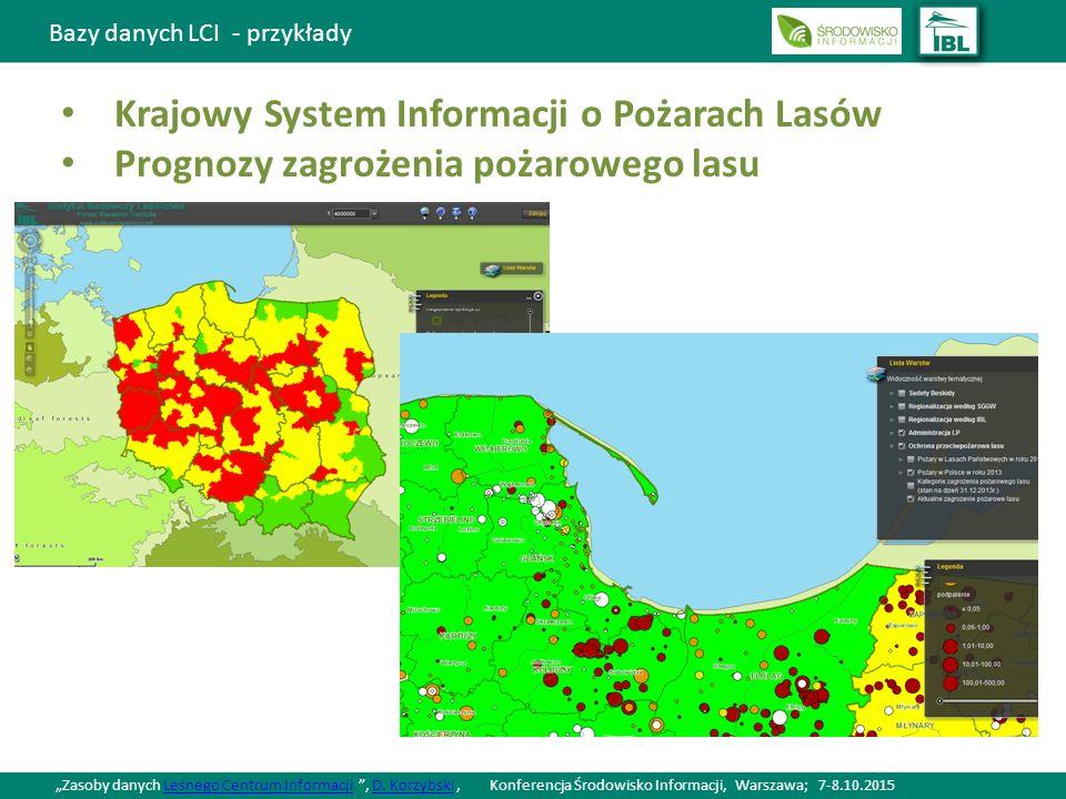 """Bazy danych LCI - przykłady Krajowy System Informacji o Pożarach Lasów Prognozy zagrożenia pożarowego lasu """"Zasoby danych Leśnego Centrum Informacji , D."""