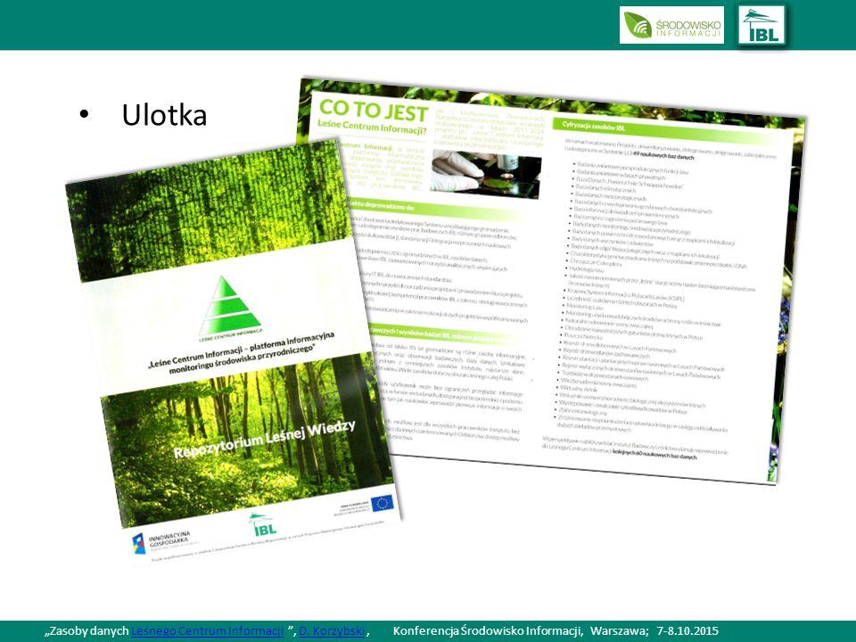"""Ulotka """"Zasoby danych Leśnego Centrum Informacji , D."""
