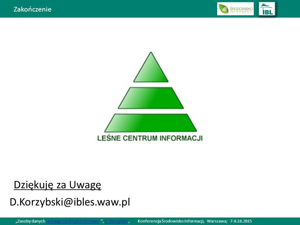 """Zakończenie Dziękuję za Uwagę D.Korzybski@ibles.waw.pl """"Zasoby danych Leśnego Centrum Informacji , D."""