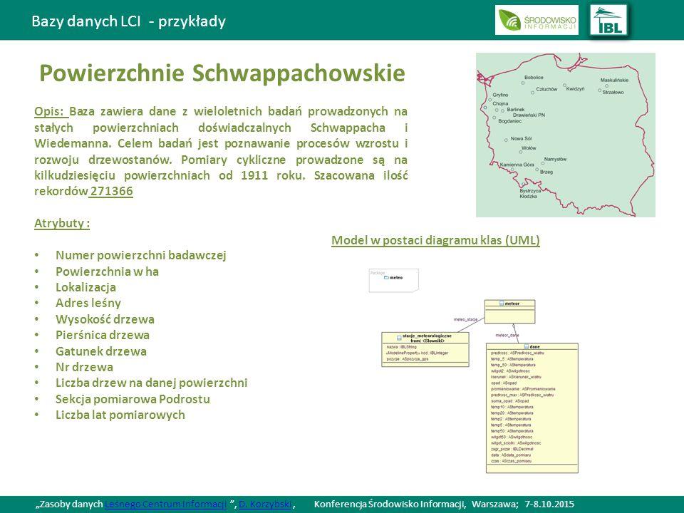Bazy danych LCI - przykłady Powierzchnie Schwappachowskie Opis: Baza zawiera dane z wieloletnich badań prowadzonych na stałych powierzchniach doświadczalnych Schwappacha i Wiedemanna.