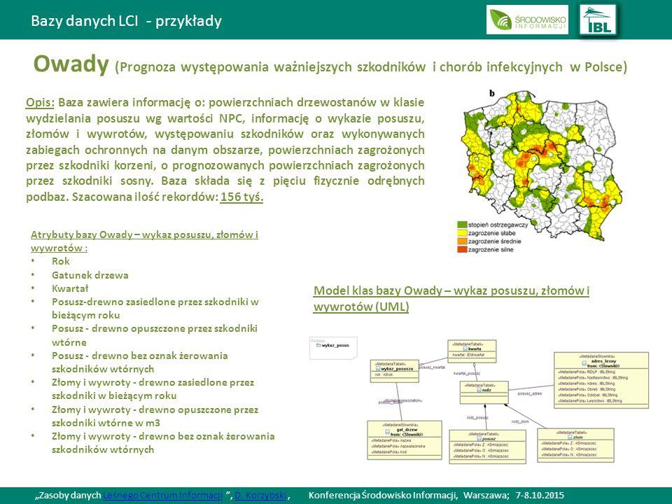 Bazy danych LCI - przykłady Owady (Prognoza występowania ważniejszych szkodników i chorób infekcyjnych w Polsce) Opis: Baza zawiera informację o: powierzchniach drzewostanów w klasie wydzielania posuszu wg wartości NPC, informację o wykazie posuszu, złomów i wywrotów, występowaniu szkodników oraz wykonywanych zabiegach ochronnych na danym obszarze, powierzchniach zagrożonych przez szkodniki korzeni, o prognozowanych powierzchniach zagrożonych przez szkodniki sosny.