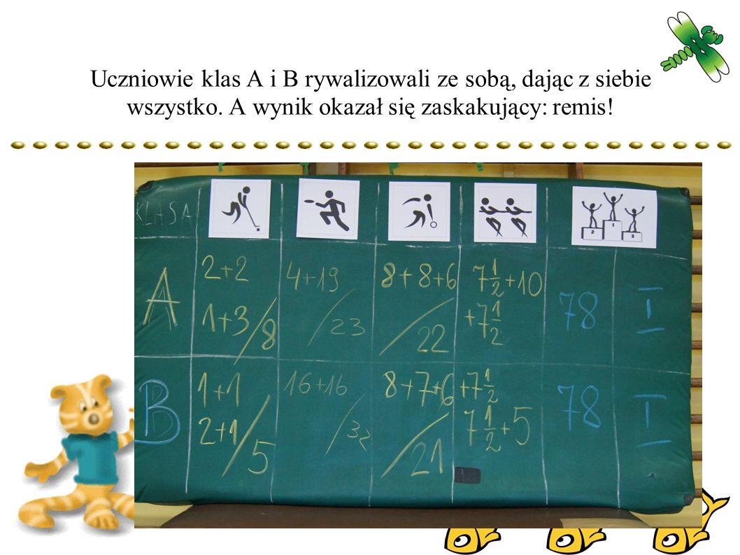 Uczniowie klas A i B rywalizowali ze sobą, dając z siebie wszystko.