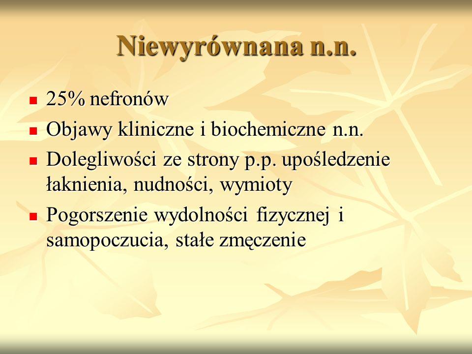 Niewyrównana n.n. 25% nefronów 25% nefronów Objawy kliniczne i biochemiczne n.n. Objawy kliniczne i biochemiczne n.n. Dolegliwości ze strony p.p. upoś