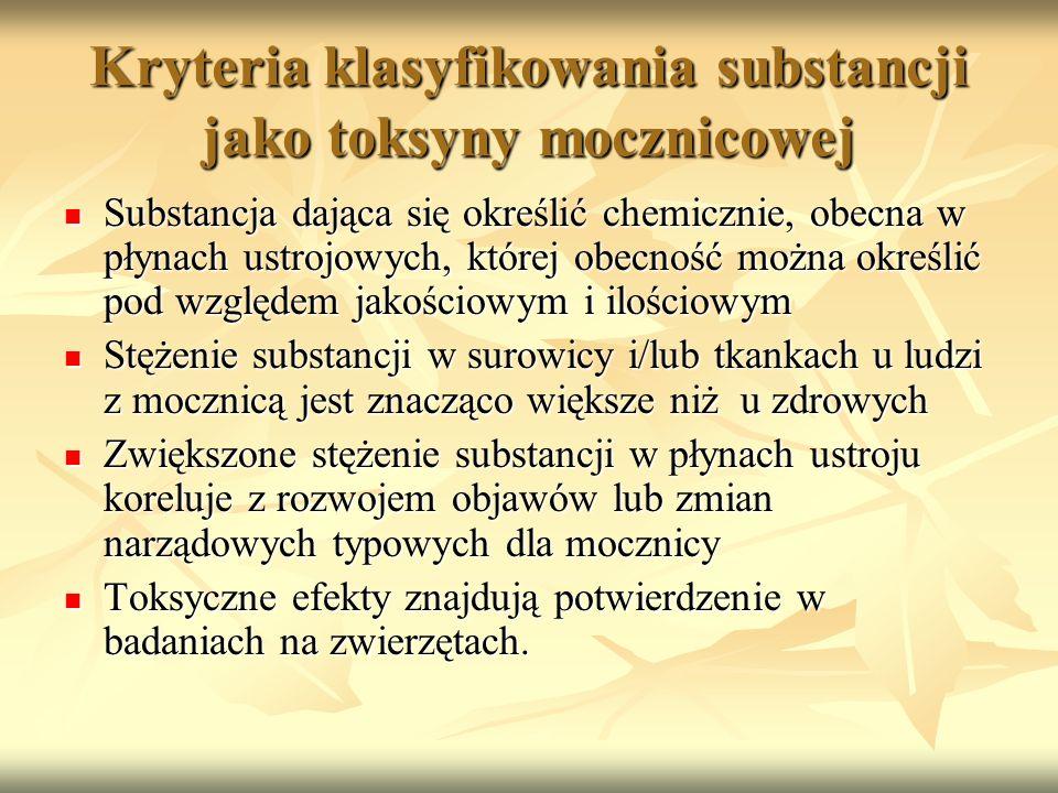 Kryteria klasyfikowania substancji jako toksyny mocznicowej Substancja dająca się określić chemicznie, obecna w płynach ustrojowych, której obecność m