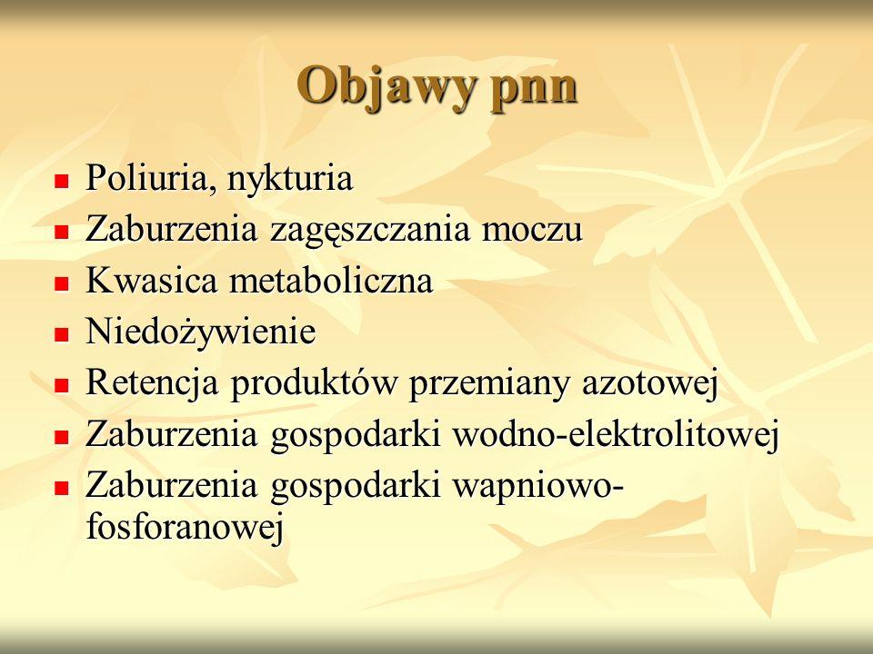 Objawy pnn Poliuria, nykturia Poliuria, nykturia Zaburzenia zagęszczania moczu Zaburzenia zagęszczania moczu Kwasica metaboliczna Kwasica metaboliczna