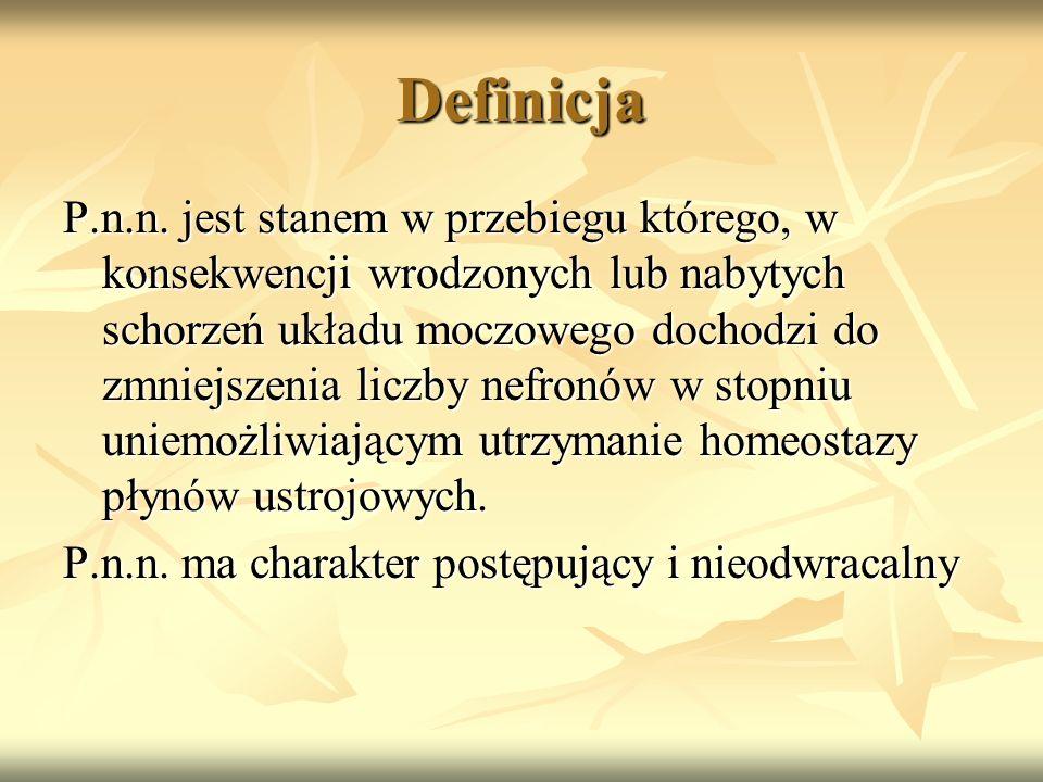Definicja P.n.n. jest stanem w przebiegu którego, w konsekwencji wrodzonych lub nabytych schorzeń układu moczowego dochodzi do zmniejszenia liczby nef