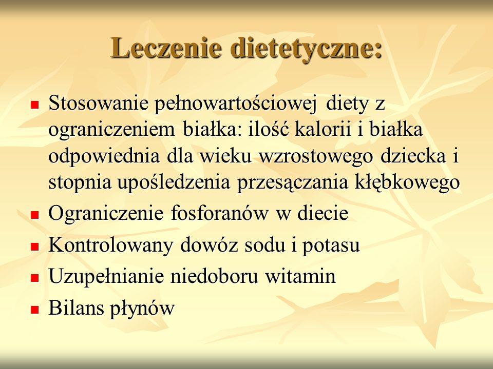 Leczenie dietetyczne: Stosowanie pełnowartościowej diety z ograniczeniem białka: ilość kalorii i białka odpowiednia dla wieku wzrostowego dziecka i st