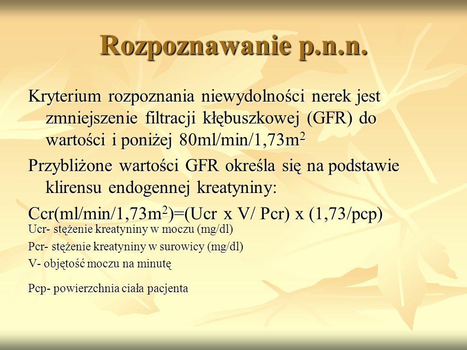 Rozpoznawanie p.n.n. Kryterium rozpoznania niewydolności nerek jest zmniejszenie filtracji kłębuszkowej (GFR) do wartości i poniżej 80ml/min/1,73m 2 P