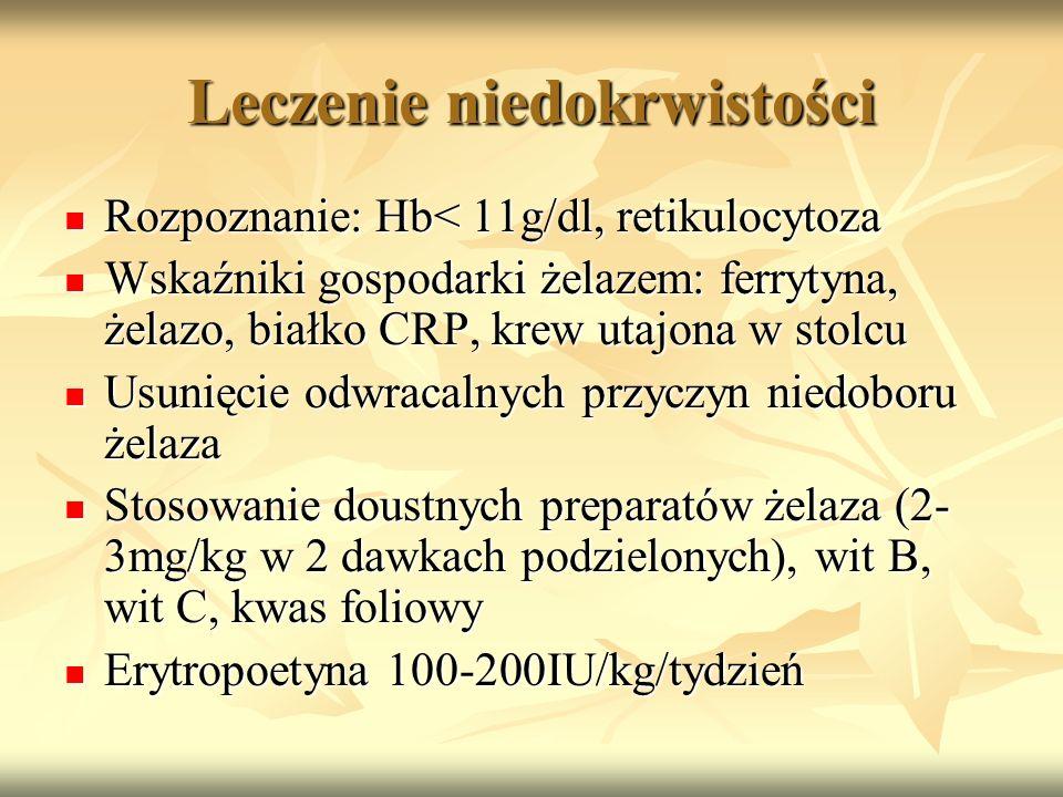 Leczenie niedokrwistości Rozpoznanie: Hb< 11g/dl, retikulocytoza Rozpoznanie: Hb< 11g/dl, retikulocytoza Wskaźniki gospodarki żelazem: ferrytyna, żela