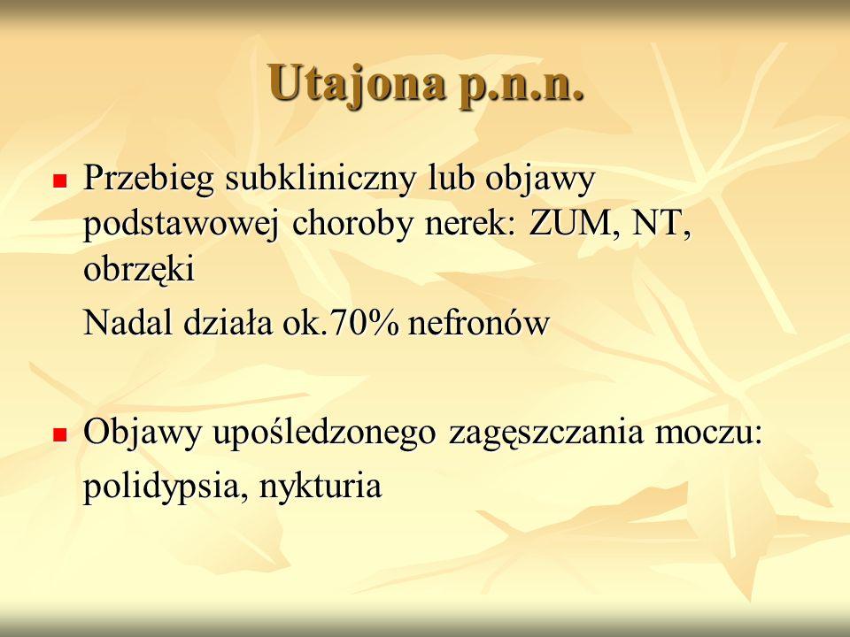 Utajona p.n.n. Przebieg subkliniczny lub objawy podstawowej choroby nerek: ZUM, NT, obrzęki Przebieg subkliniczny lub objawy podstawowej choroby nerek