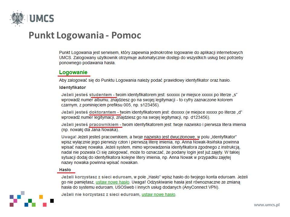 Punkt Logowania - Pomoc www.umcs.pl