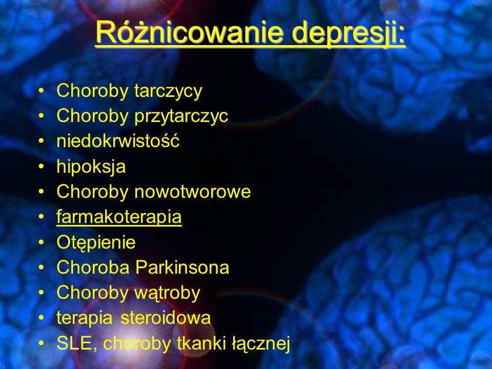 leki mogące powodować objawy depresji Leki p/nadciśnieniowe –Propanolol, Metyldopa, Rezerpina, Klonidyna, Hydralazyna, Guantydyna Inne leki układu krążenia –glikozydy, leki moczopędne, Lidokaina, Procaina Leki sterydowe –kortykosteroidy, Progestageny, (Estrogen) Leki p/bólowe –Narkotyczne, Indometacyna Benzodiazepiny Inne: leki p/bakteryjne, neuroleptyki, chemoterapia, alkohol,