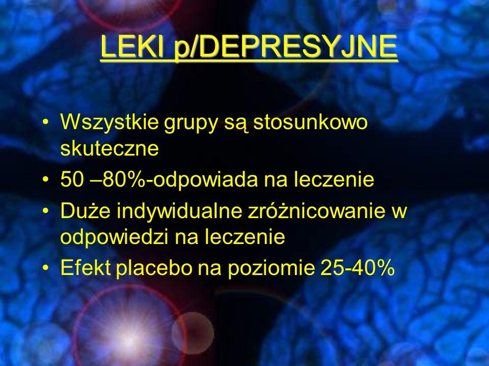 LEKI PRZECIWDEPRESYJNE; Klasyczne leki p/depresyjne trójpierścieniowe leki p/depresyjne (TLPD) inhibitory monoaminooksydazy (MAOI) selektywne inhibitory wychwytu serotoniny (SSRI) selektywne inhibitory wychwytu zwrotnego noradrenaliny (NRI) blokery wychwytu zwrotnego noradrenaliny i dopaminy NDRI