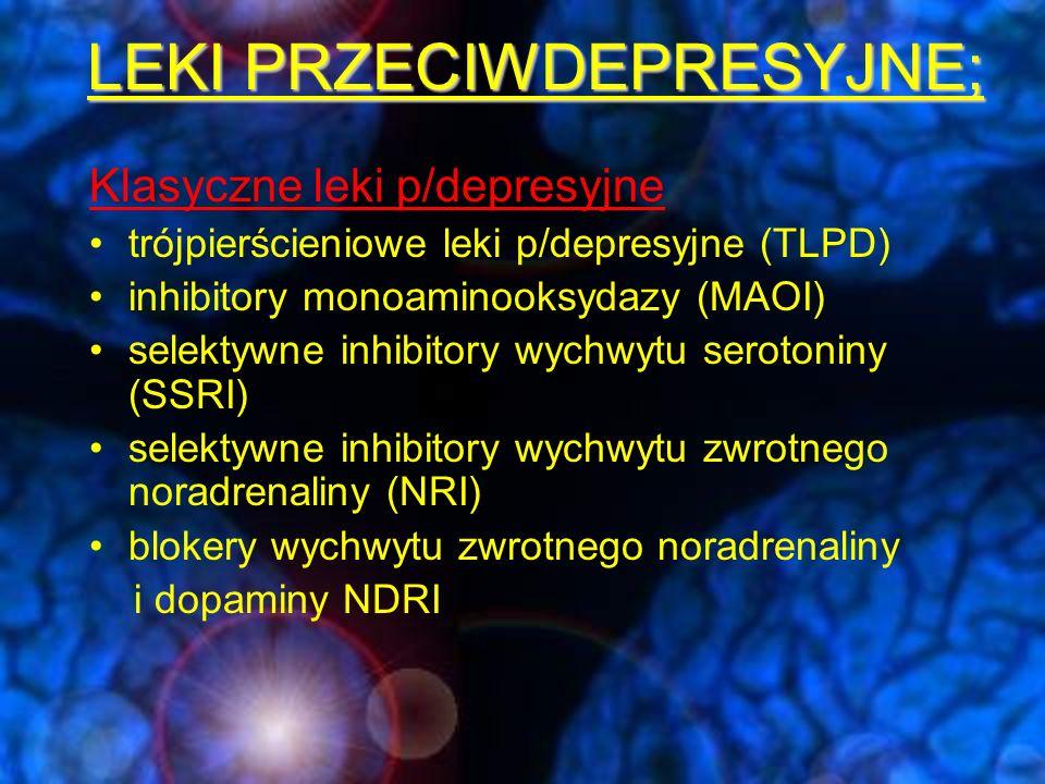 LEKI PRZECIWDEPRESYJNE; Nowe leki p/depresyjne podwójne inhibitory wychwytu zwrotnego serotoniny i noradrenaliny (SNRI) antydepresanty noradrenergiczne i swoiście serotoninergiczne (NaSSA) antagoniści receptorów 5HT 2A oraz wychwytu zwrotnego serotoniny (SARI) Inne leki stosowane w leczeniu depresji: Neuroleptyki o działaniu p/depresyjnym (chlorprotiksen, sulpiryd, tioridazyna, lewopromazyna) węglan litu