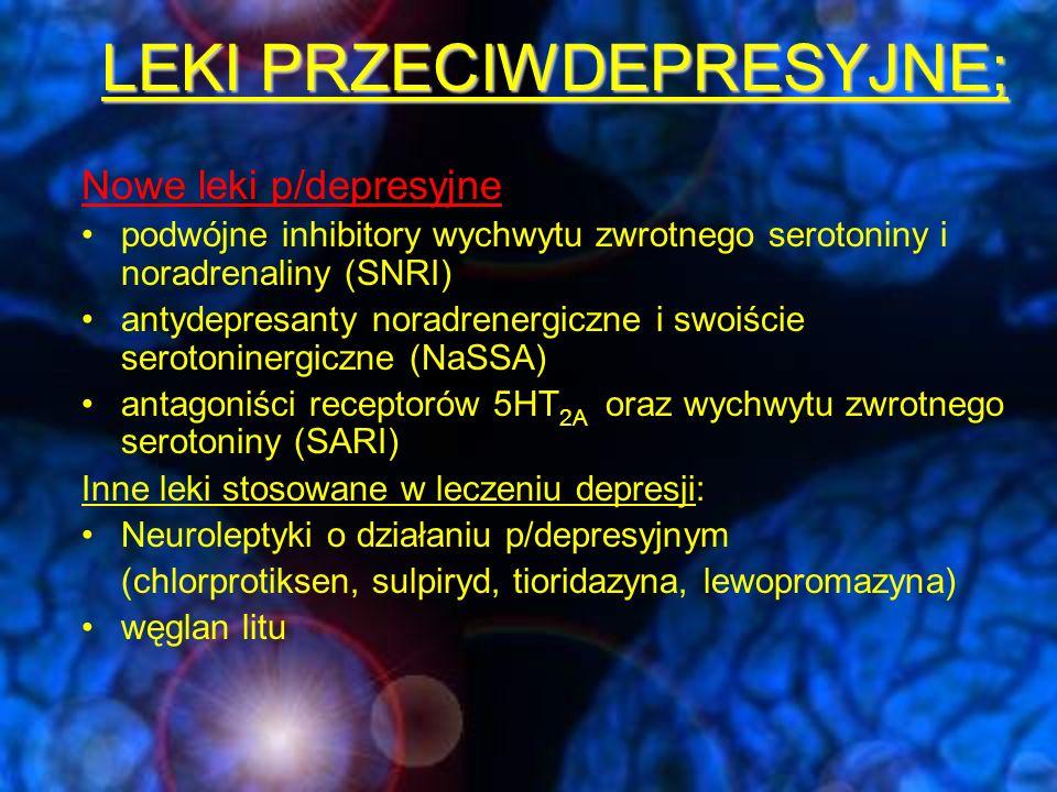 """Trójcykliczne leki p/depresyjne (""""TLPD ) TLPD-należą do nieselektywnych inhibitorów wychwytu zwrotnego NA i 5-HT.Działają także na inne układy neurooprzekaźnikowe (układy: cholinergiczny, dopaminergiczny, histaminowy) powodują: wzrost stężenia serotoniny wzrost stężenia noradrenaliny blokowanie receptora muskarynowego M1 – efekt cholinolityczny (suchość w ustach, zaparcia, zaburzenia widzenia, senność) blokowanie receptora adrenergicznego alfa 1 –zawroty głowy, hipotonia ortostatyczna, senność blokowanie receptora histaminowego H1 efekt antyhistaminowy  wzrost masy ciała, senność blokowanie kanałów wapniowych (serce, mózg) antagonizowanie receptorów 5HTA2"""