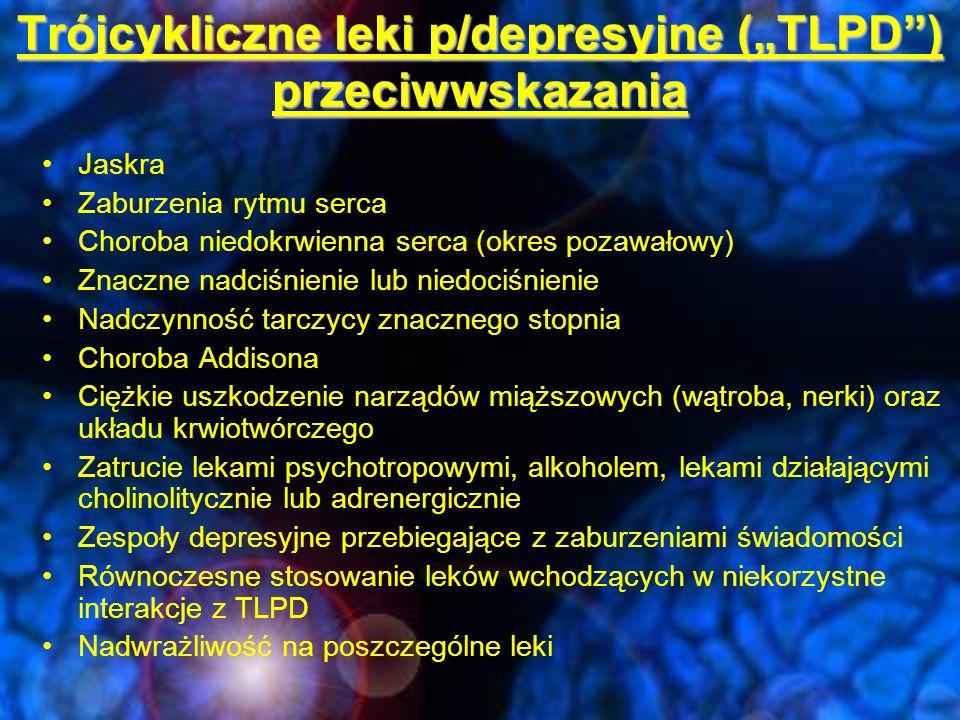 "Trójcykliczne leki p/depresyjne (""TLPD ) klomipramina (Anafranil) Nortryptylina (Pamelor) Imipramina (Tofranil) Amitryptylina (Elavil) Desipramina (Norpramin) Doksepina (Sinequan) Protryptylina (Vivactil) Maprotylina (Ludiomil) Amoksapina (Ascendin), Trimipramina (Surmontil)"