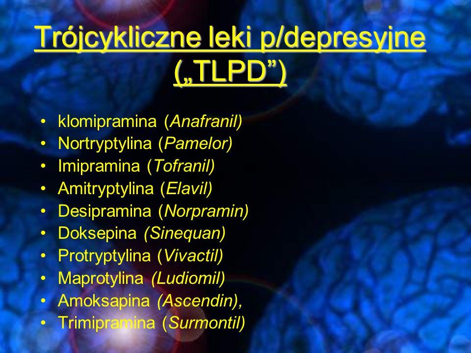 Dawkowanie TLPD Amitriptylina7575-300 Imipramina7575-300 Nortriptylina10-5050-200 Klomipramina7575-300 KlasaNazwapoczątkowa Okno tera- peutyczne