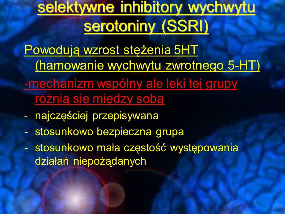 SSRI's - wspólne cechy Szeroki indeks terapeutyczny minimalny efekt cholinolityczny i antyhistaminowy minimalny wpływ na układ krążenia nie obniżają progu drgawkowego Niewielkie ryzyko zmiany fazy dobra tolerancja dobra współpraca pacjentów małe ryzyko teratogenności możliwy negatywny wpływ na funkcje psychoseksualne