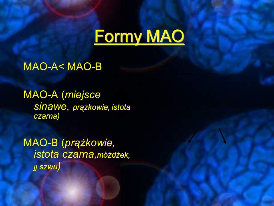 """Trzy generacje inhibitorów MAO Generacja I -iproniazyd -fenelzyna -izokarbamid -pargylina -tranylcypromina -Nieselektywne blokowanie MAO-A i MAO-B - Nieodwracalnie * -skuteczność podobna do TLPD -wiele, groźnych działań niepożądanych: (uszkodzenia wątroby, """"cheese efeffect , drżenia mięśniowe,zmiany fazy choroby, bezsenność, psychozy"""