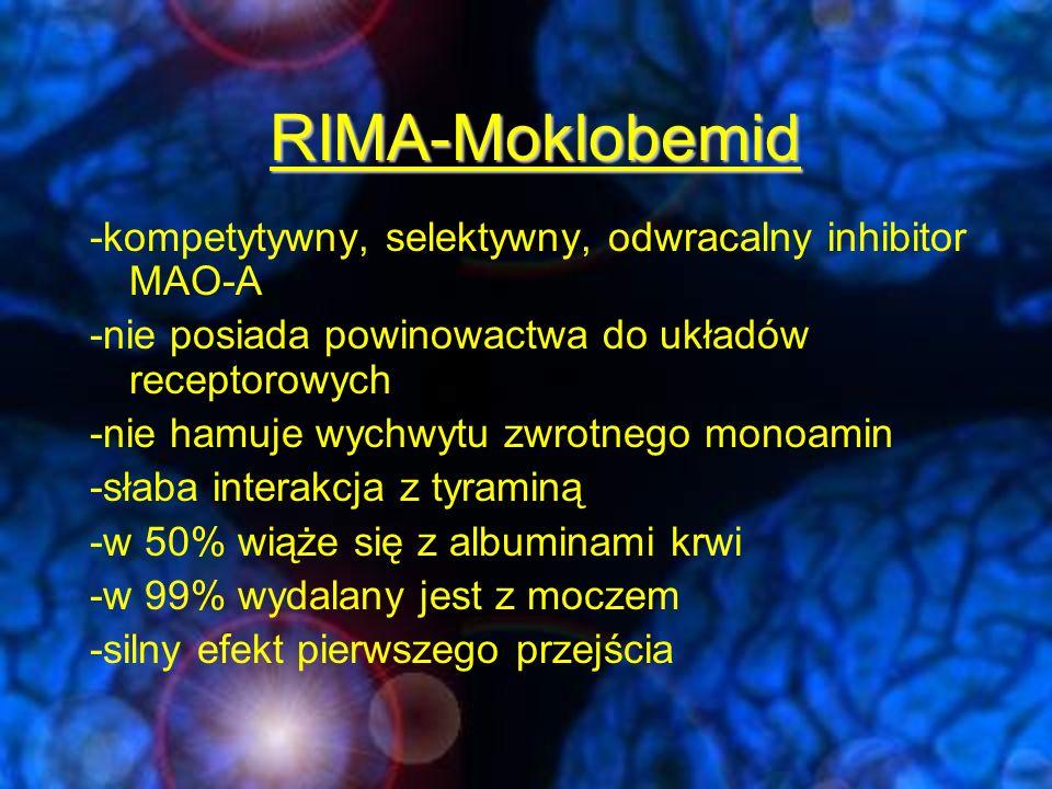 RIMA-Moklobemid skutecznością moklobemid przewyższały jedynie klasyczne I-MAO (głównie w w atypowych, niezbyt nasilonych depresjach, w których moklobemid działa słabiej) wykazano podobną skuteczność moklobemidu i trójpierścieniowych leków przeciwdepresyjnych nie wykazano różnic skuteczności moklobemidu i selektywnych inhibitorów wychwytu serotoniny (SSRI).