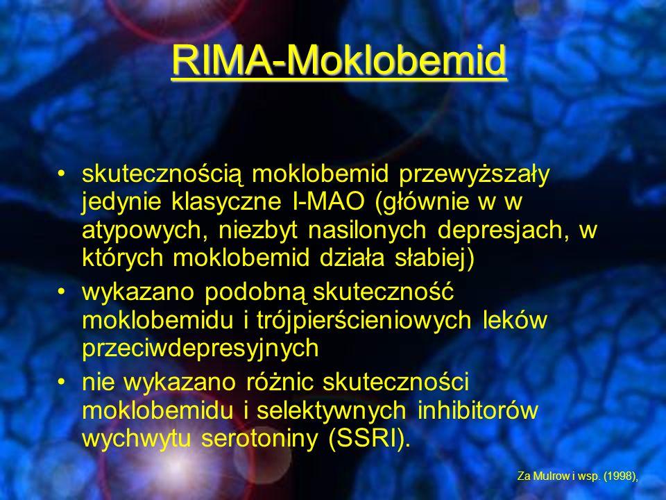 -Porównanie skuteczność moklobemidu versus inne leki p/depresyjne w depresjach o różnym nasileniu objawów a)wyniki analiz przeprowadzonych przez Angst i wsp.