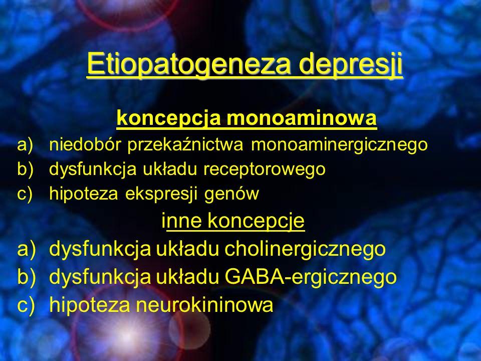 Hipoteza monoaminowa -niedobór jednej lub więcej amin biogennych a)Serotoniny (5-HT) b)Noradrenaliny (NE) c)Dopaminy (DA) -działanie leków p/depresyjnych wywołuje wzrost monoamin w szczelinie synaptycznej