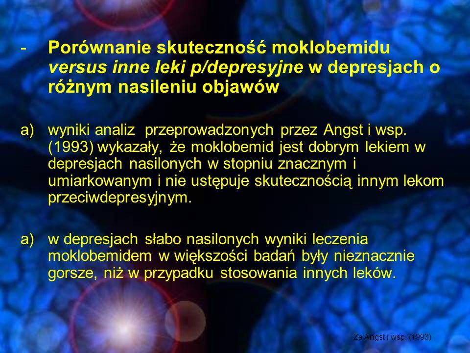 RIMA-Moklobemid Przeciwskazania: -nadwrażliwość na lek -uszkodzenia wątroby -ciąża i okres karmienia -zaburzenia świadomości -równoczesne przyjmowanie leków hamujących wychwyt serotoniny (IMAO, SRI, TLPD) główne działania niepożądane: -zaburzenia snu (senność, bezsenność) -pobudzenie psychoruchowe -drżenia -zaburzenia widzenia -bóle i zawroty głowy -suchość w ustach Zwyżki ciśnienia (rzadko)