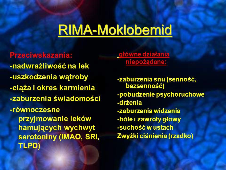 Moklobemid-interakcje lekowe - nie jest konieczne zachowanie rygorystycznej diety (w zakresie dawek terapeutycznych) -bezpiecznie podawać większość innych leków w połączeniu z moklobemidem.