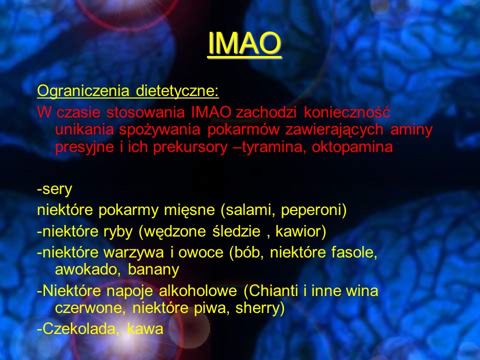 Selektywne inhibitory wychwytu zwrotnego noradrenaliny (NARI) -wiloksazyna -Reboksetyna -tamoksetyna Zespół niedoboru noradrenaliny -depresje z zaburzeniami kognitywnymi, męczliwością, deficytami koncentracji, osłabieniem pamięci -Apatyczny zespół odpowiedzi na SSRI --interakcje na poziomie CYP3A4 (fluoksetyna, antybiotyki makrolidowe) -działania niepożądane (niespecyficzne pobudzenie receptorów noradrenergicznych alfa1, 2, beta 1-nasilenie aktywności układu współczulnego) P.w.: nadwrażliwość, padaczka, ciąża, okres karmienia.