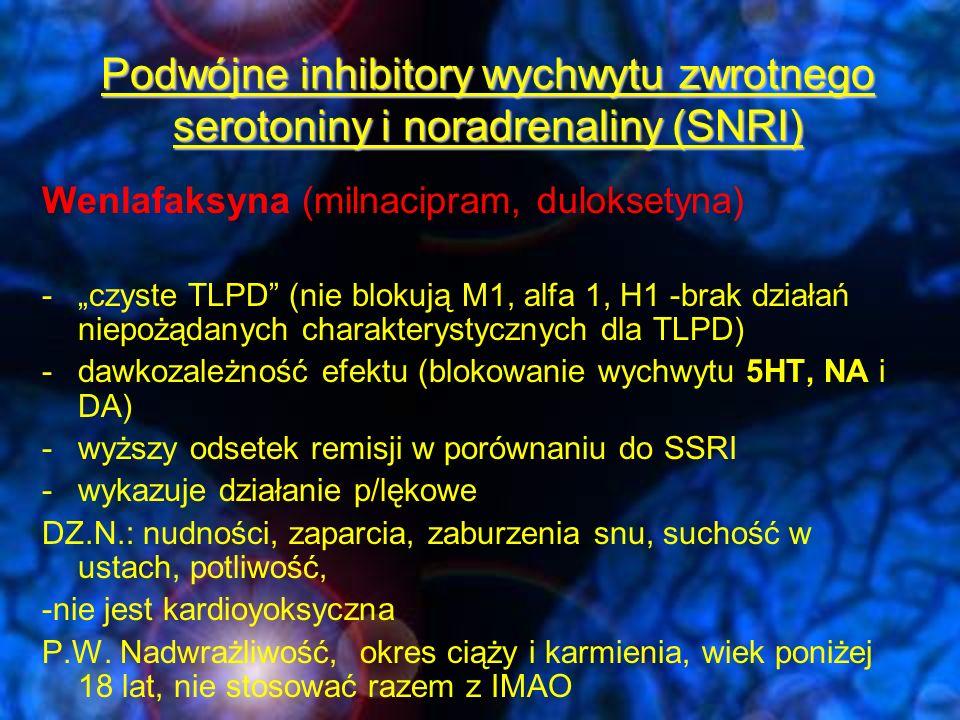 Leki działające głównie receptorowo na układ noradrenergiczny i serotoninergiczny (NaSSA) -Mirtazapina –silny lek p/depresyjny (działanie antagonistyczne wobec alfa2, 5HT2a, 5HT2c, 5HT3, H1 i 5HT1a ) a)efekt p/depresyjny (5HT2a) b)brak działań niepożądanych związanych z pobudzeniem (5HT2a, 5HT2c i 5HT3)- lęk (5HT1a), bezsenność, dysfunkcje seksualne (5HT2a), zaburzenia gastryczne (5HT3) DZ.N.