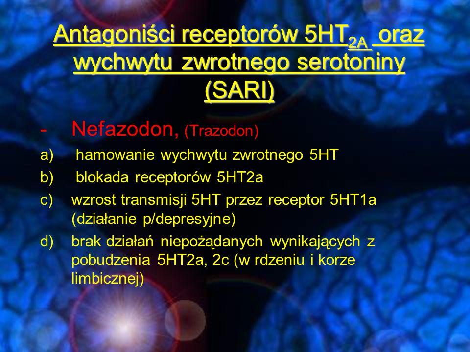 Antagoniści receptorów 5HT 2A oraz wychwytu zwrotnego serotoniny (SARI) -Nefazodon, (Trazodon) a) hamowanie wychwytu zwrotnego 5HT b) blokada receptor