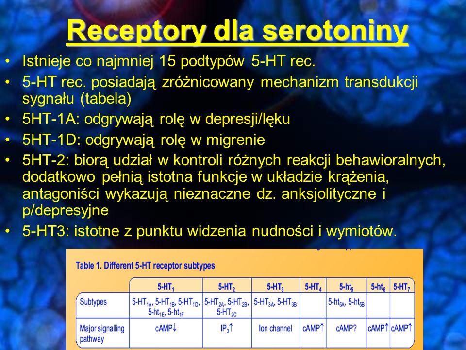 5HT PRE POST WYCHWYT ZWROTNY 5HT 5-HT 1D/B; alfa 2 5-HT 1A; Auto/heterorecptory hamujące
