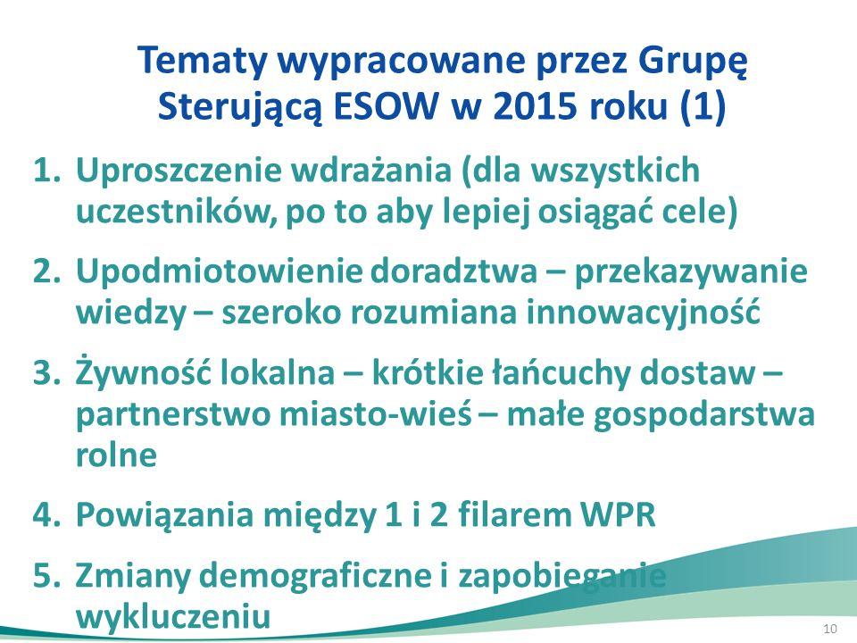 10 Tematy wypracowane przez Grupę Sterującą ESOW w 2015 roku (1) 1.Uproszczenie wdrażania (dla wszystkich uczestników, po to aby lepiej osiągać cele)