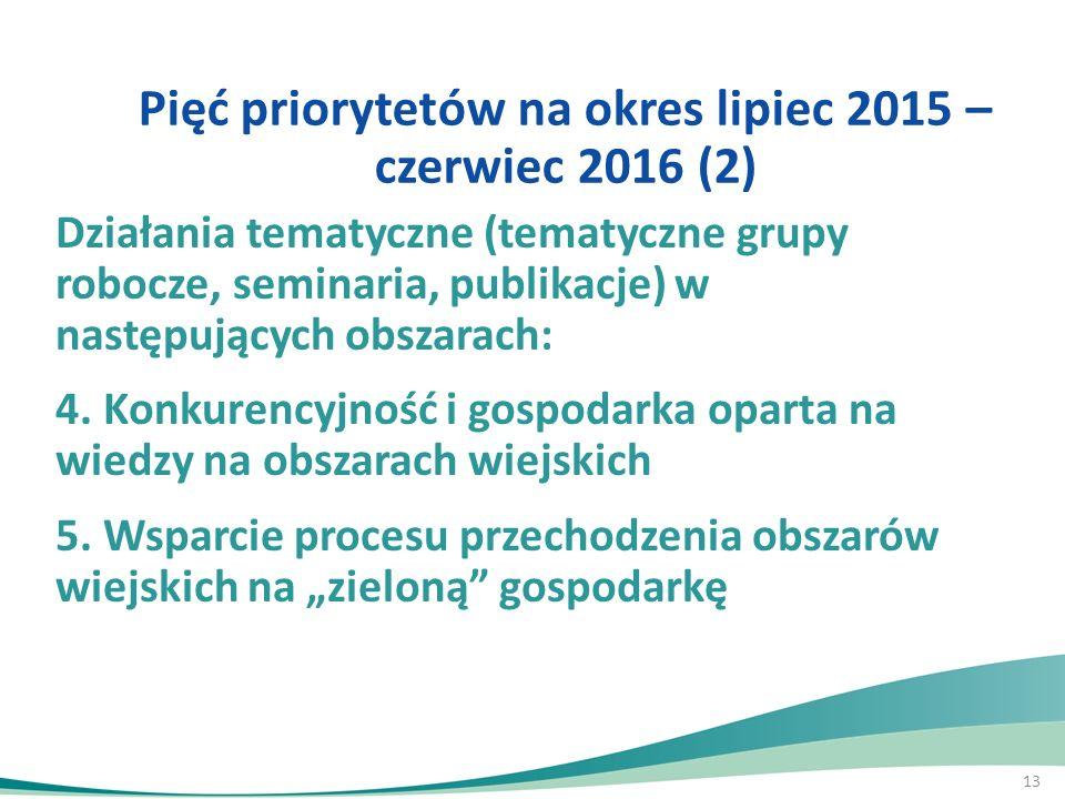 13 Działania tematyczne (tematyczne grupy robocze, seminaria, publikacje) w następujących obszarach: 4. Konkurencyjność i gospodarka oparta na wiedzy