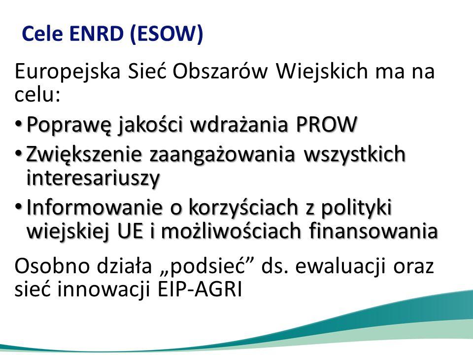 """Cele ENRD (ESOW) Europejska Sieć Obszarów Wiejskich ma na celu: Poprawę jakości wdrażania PROW Poprawę jakości wdrażania PROW Zwiększenie zaangażowania wszystkich interesariuszy Zwiększenie zaangażowania wszystkich interesariuszy Informowanie o korzyściach z polityki wiejskiej UE i możliwościach finansowania Informowanie o korzyściach z polityki wiejskiej UE i możliwościach finansowania Osobno działa """"podsieć ds."""