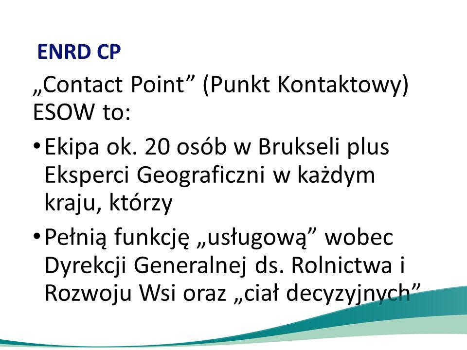 """ENRD CP """"Contact Point"""" (Punkt Kontaktowy) ESOW to: Ekipa ok. 20 osób w Brukseli plus Eksperci Geograficzni w każdym kraju, którzy Pełnią funkcję """"usł"""