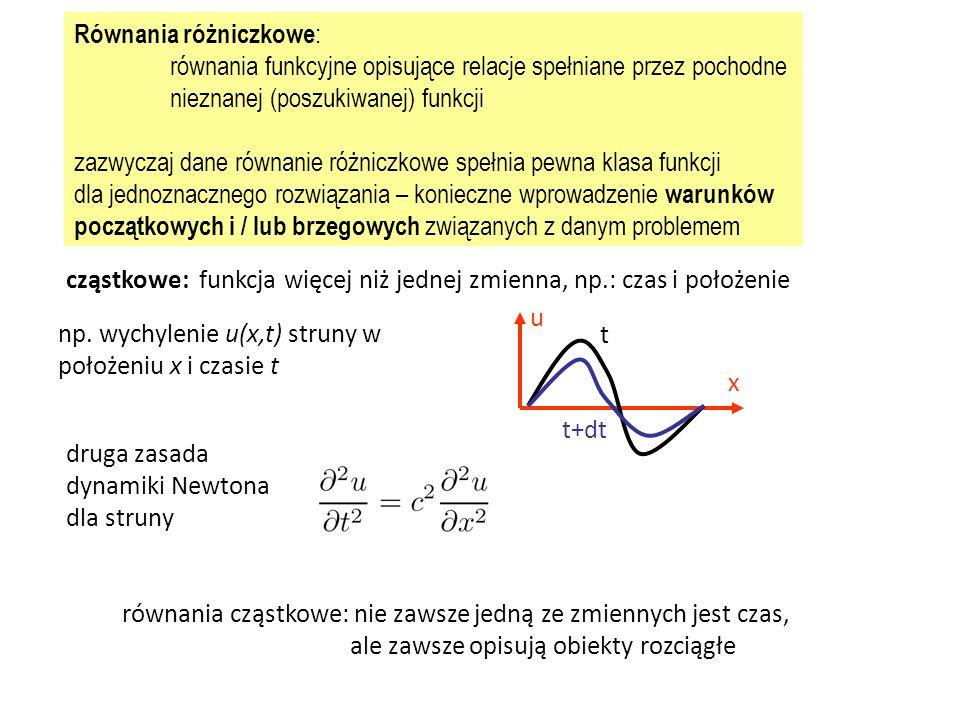 Równania różniczkowe : równania funkcyjne opisujące relacje spełniane przez pochodne nieznanej (poszukiwanej) funkcji zazwyczaj dane równanie różniczkowe spełnia pewna klasa funkcji dla jednoznacznego rozwiązania – konieczne wprowadzenie warunków początkowych i / lub brzegowych związanych z danym problemem cząstkowe: funkcja więcej niż jednej zmienna, np.: czas i położenie u x t t+dt np.