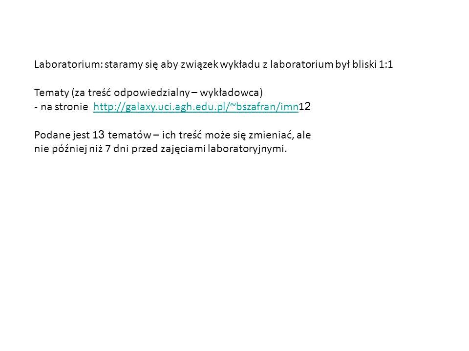 Laboratorium: staramy się aby związek wykładu z laboratorium był bliski 1:1 Tematy (za treść odpowiedzialny – wykładowca) - na stronie http://galaxy.uci.agh.edu.pl/~bszafran/imn1 2http://galaxy.uci.agh.edu.pl/~bszafran/imn Podane jest 1 3 tematów – ich treść może się zmieniać, ale nie później niż 7 dni przed zajęciami laboratoryjnymi.