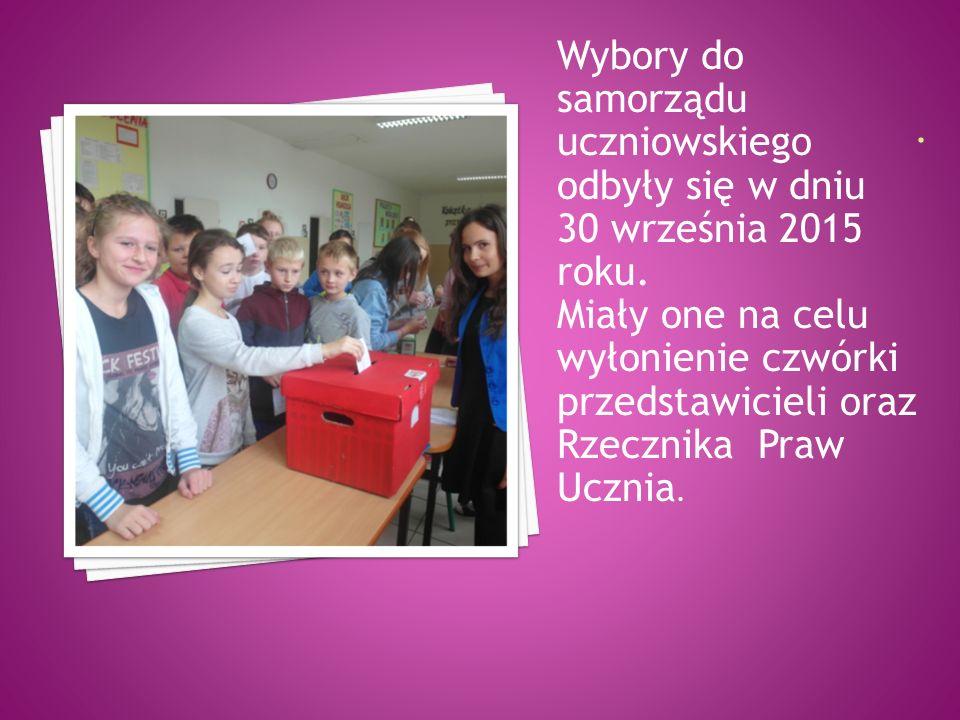 Wybory do samorządu uczniowskiego odbyły się w dniu 30 września 2015 roku. Miały one na celu wyłonienie czwórki przedstawicieli oraz Rzecznika Praw Uc