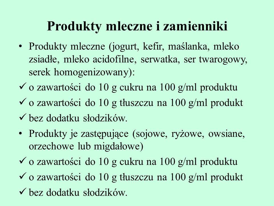 Produkty mleczne i zamienniki Produkty mleczne (jogurt, kefir, maślanka, mleko zsiadłe, mleko acidofilne, serwatka, ser twarogowy, serek homogenizowan