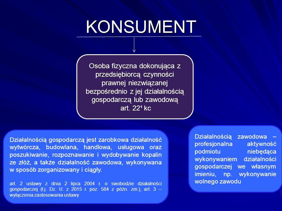 KONSUMENT Osoba fizyczna dokonująca z przedsiębiorcą czynności prawnej niezwiązanej bezpośrednio z jej działalnością gospodarczą lub zawodową art.