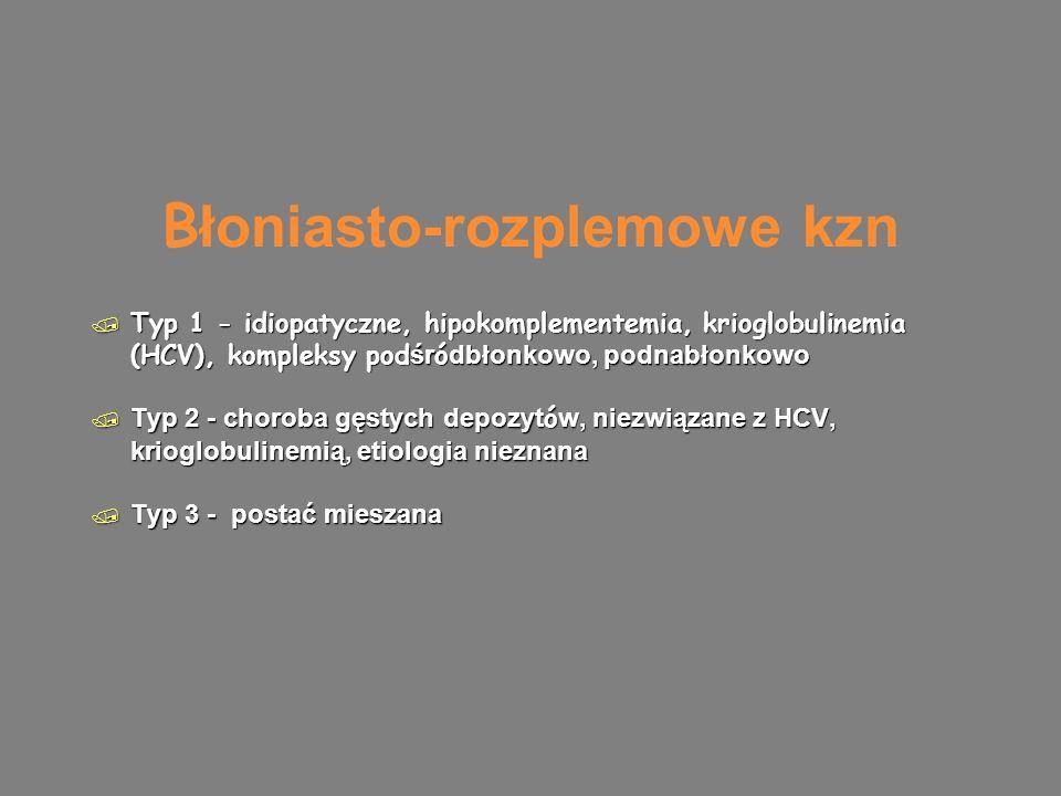 B łoniasto-rozplemowe kzn  Typ 1 - idiopatyczne, hipokomplementemia, krioglobulinemia (HCV), kompleksy pod śr ó dbłonkowo, podnabłonkowo  Typ 2 - choroba gęstych depozyt ó w, niezwiązane z HCV, krioglobulinemią, etiologia nieznana  Typ 3 - postać mieszana  Typ 1 - idiopatyczne, hipokomplementemia, krioglobulinemia (HCV), kompleksy pod śr ó dbłonkowo, podnabłonkowo  Typ 2 - choroba gęstych depozyt ó w, niezwiązane z HCV, krioglobulinemią, etiologia nieznana  Typ 3 - postać mieszana