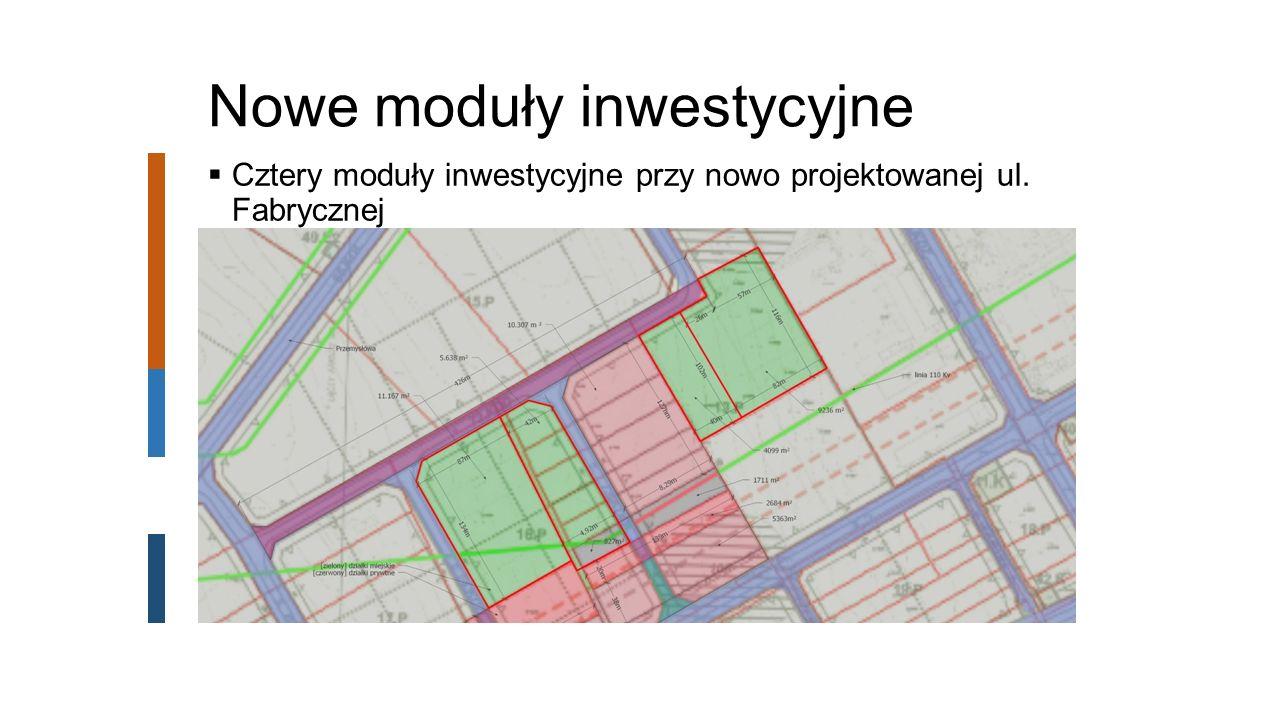Nowe moduły inwestycyjne  Cztery moduły inwestycyjne przy nowo projektowanej ul. Fabrycznej