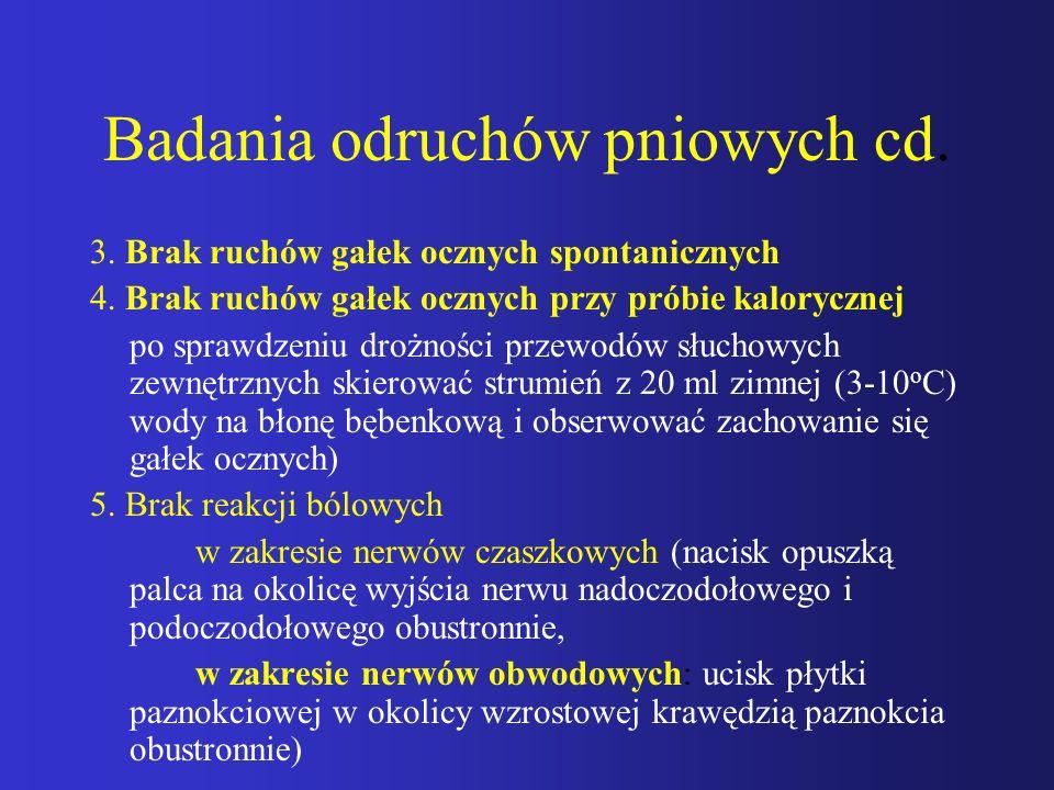 Badania odruchów pniowych cd. 3. Brak ruchów gałek ocznych spontanicznych 4. Brak ruchów gałek ocznych przy próbie kalorycznej po sprawdzeniu drożnośc